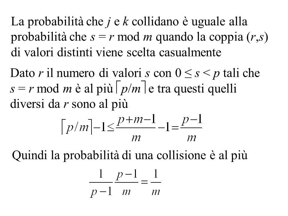 La probabilità che j e k collidano è uguale alla probabilità che s = r mod m quando la coppia (r,s) di valori distinti viene scelta casualmente