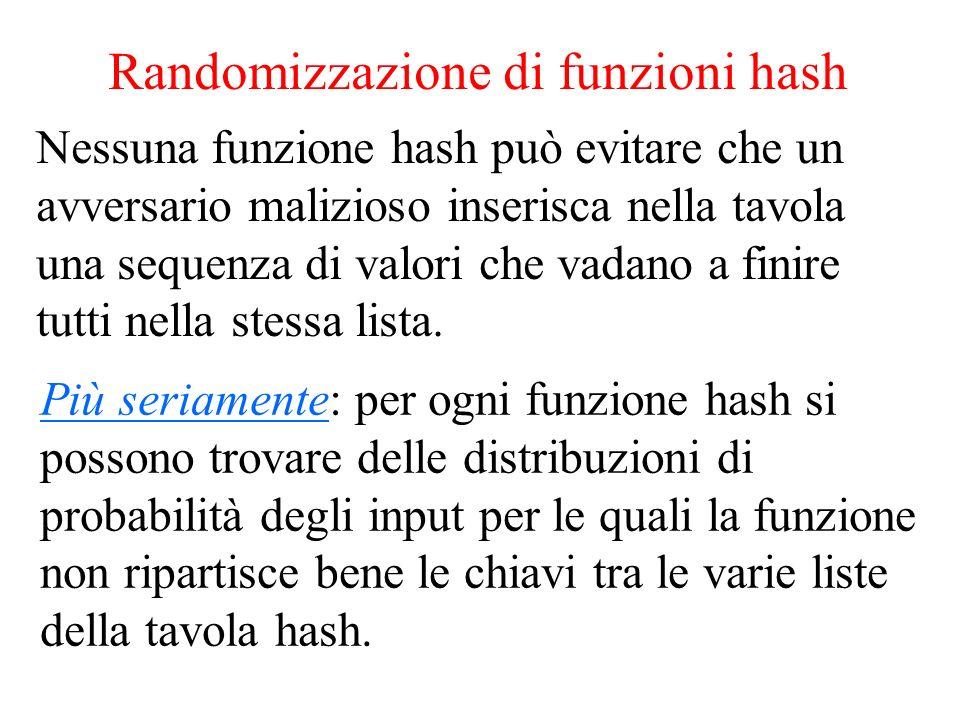 Randomizzazione di funzioni hash