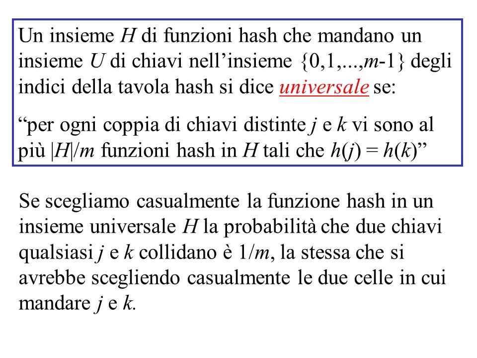 Un insieme H di funzioni hash che mandano un insieme U di chiavi nell'insieme {0,1,...,m-1} degli indici della tavola hash si dice universale se: