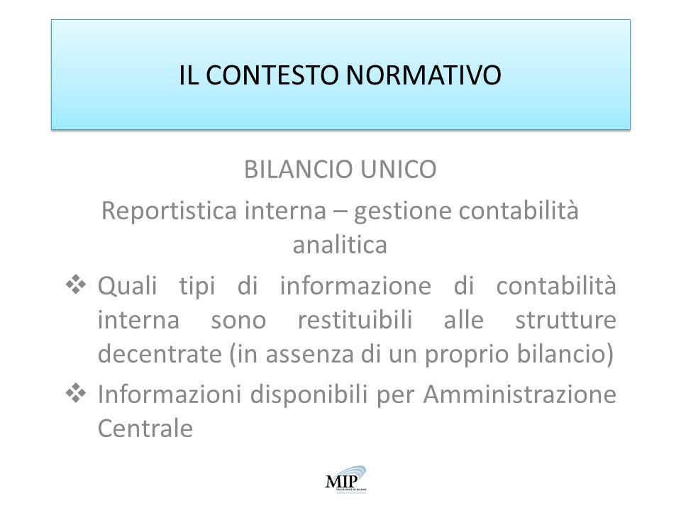 Reportistica interna – gestione contabilità analitica