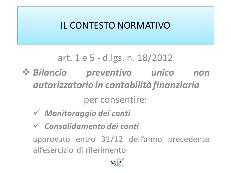 IL CONTESTO NORMATIVO art. 1 e 5 - d.lgs. n. 18/2012