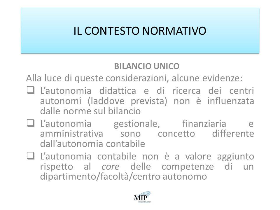 IL CONTESTO NORMATIVO BILANCIO UNICO. Alla luce di queste considerazioni, alcune evidenze: