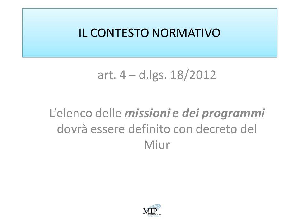 IL CONTESTO NORMATIVO art. 4 – d.lgs. 18/2012.
