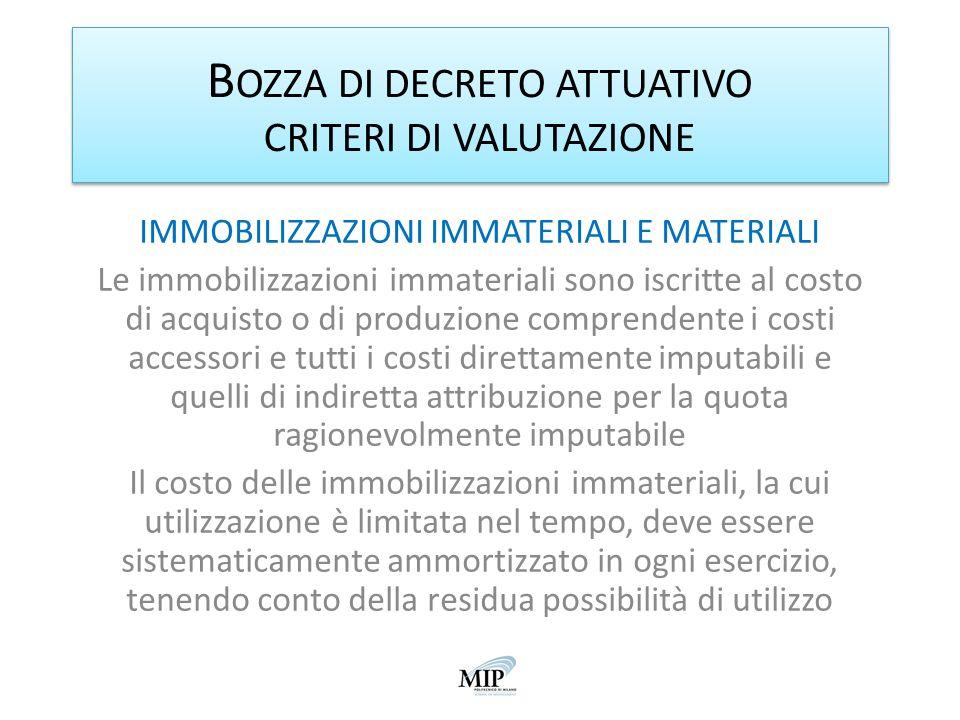 BOZZA DI DECRETO ATTUATIVO CRITERI DI VALUTAZIONE