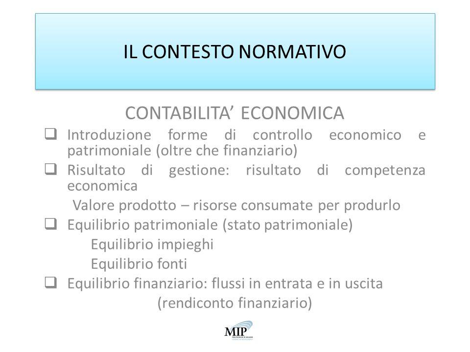 IL CONTESTO NORMATIVO CONTABILITA' ECONOMICA