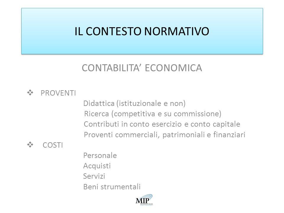 IL CONTESTO NORMATIVO CONTABILITA' ECONOMICA PROVENTI
