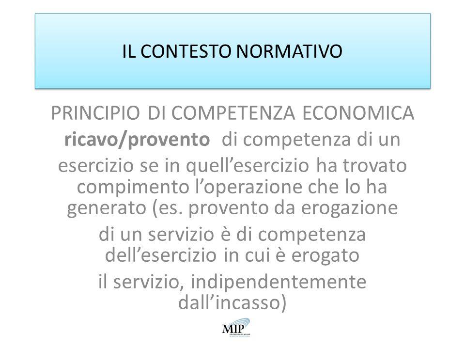 PRINCIPIO DI COMPETENZA ECONOMICA ricavo/provento di competenza di un