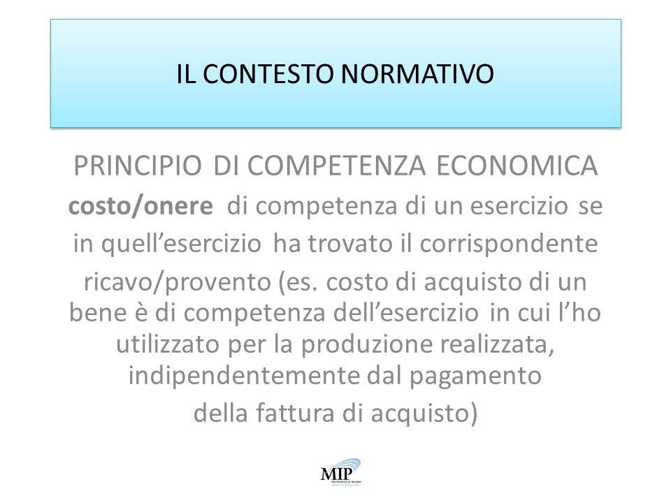 PRINCIPIO DI COMPETENZA ECONOMICA