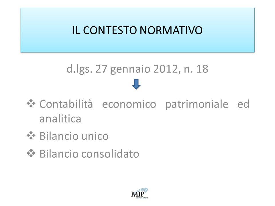 IL CONTESTO NORMATIVO d.lgs. 27 gennaio 2012, n. 18. Contabilità economico patrimoniale ed analitica.
