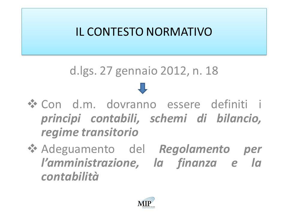 IL CONTESTO NORMATIVO d.lgs. 27 gennaio 2012, n. 18. Con d.m. dovranno essere definiti i principi contabili, schemi di bilancio, regime transitorio.