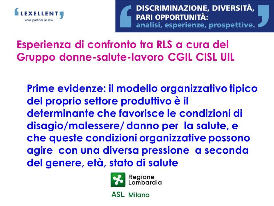 Esperienza di confronto tra RLS a cura del Gruppo donne-salute-lavoro CGIL CISL UIL