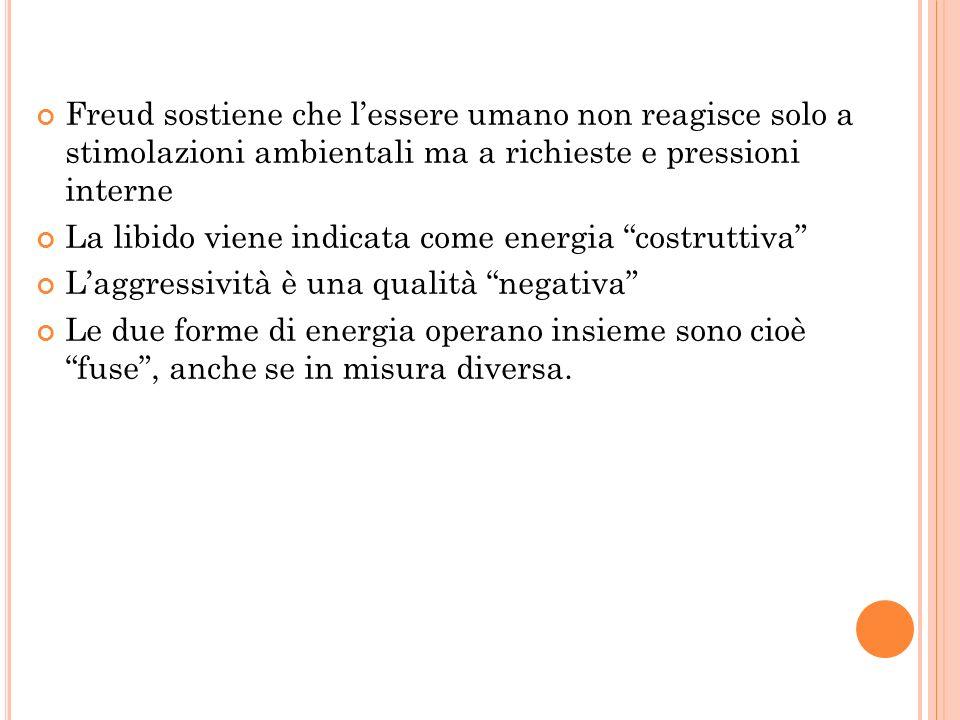 Freud sostiene che l'essere umano non reagisce solo a stimolazioni ambientali ma a richieste e pressioni interne