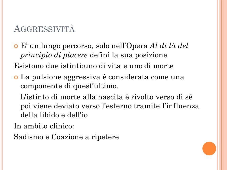 Aggressività E' un lungo percorso, solo nell'Opera Al di là del principio di piacere definì la sua posizione.