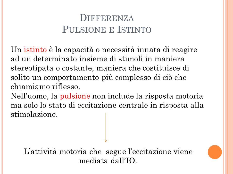 Differenza Pulsione e Istinto