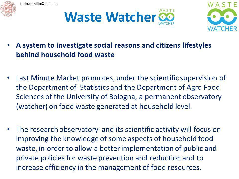 Waste Watcher A system to investigate social reasons and citizens lifestyles behind household food waste.