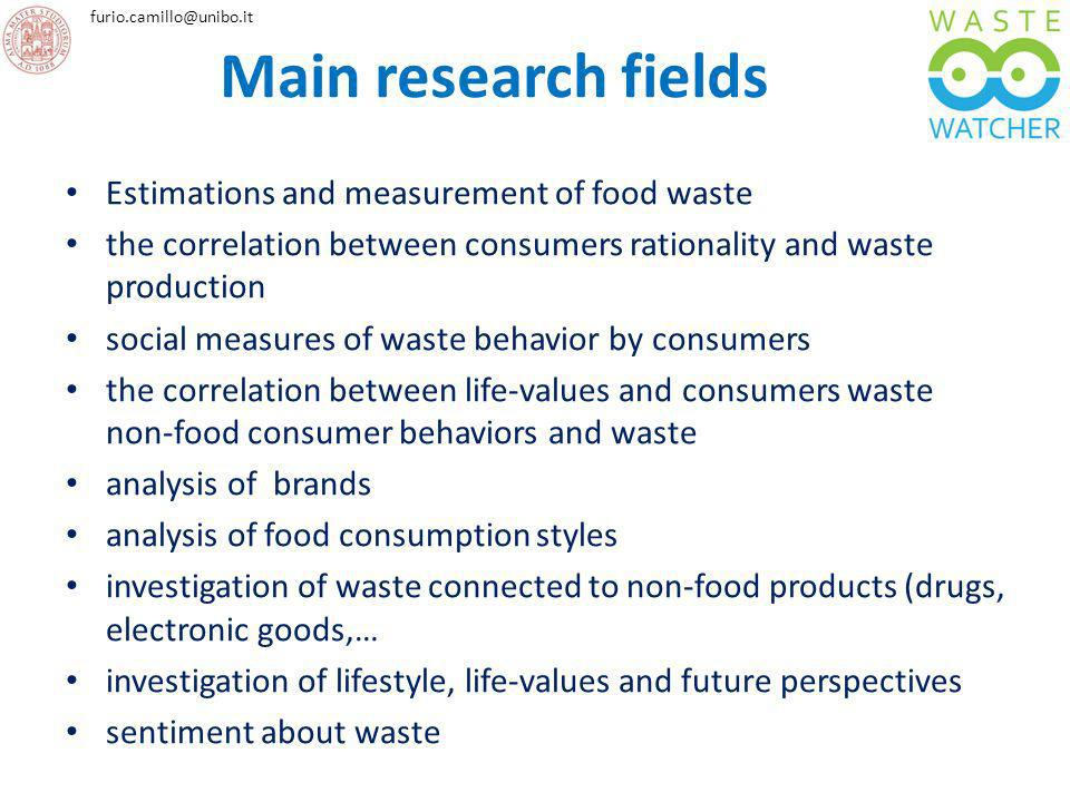 Main research fields Estimations and measurement of food waste
