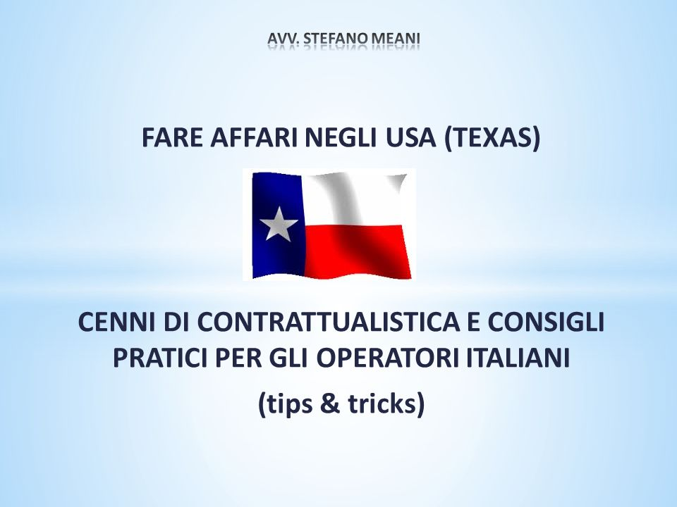 FARE AFFARI NEGLI USA (TEXAS)