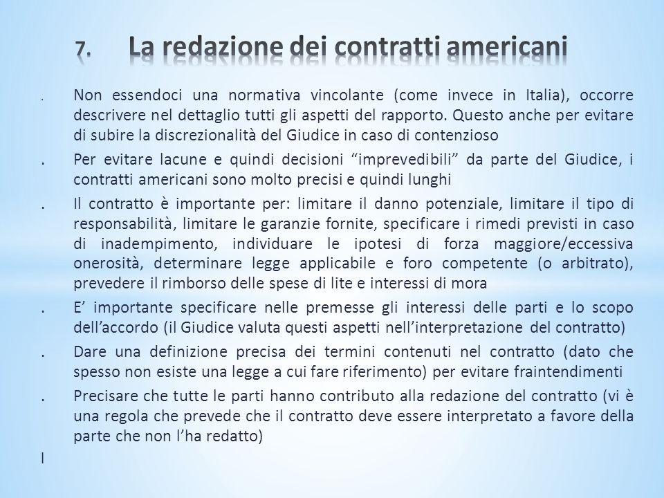 7. La redazione dei contratti americani