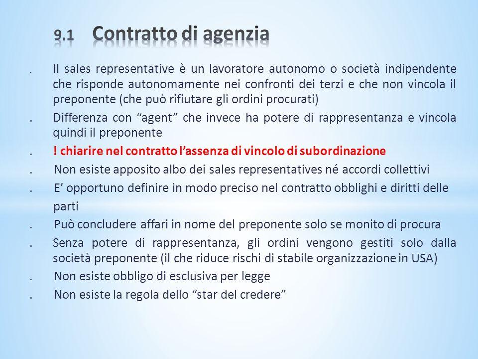 9.1 Contratto di agenzia