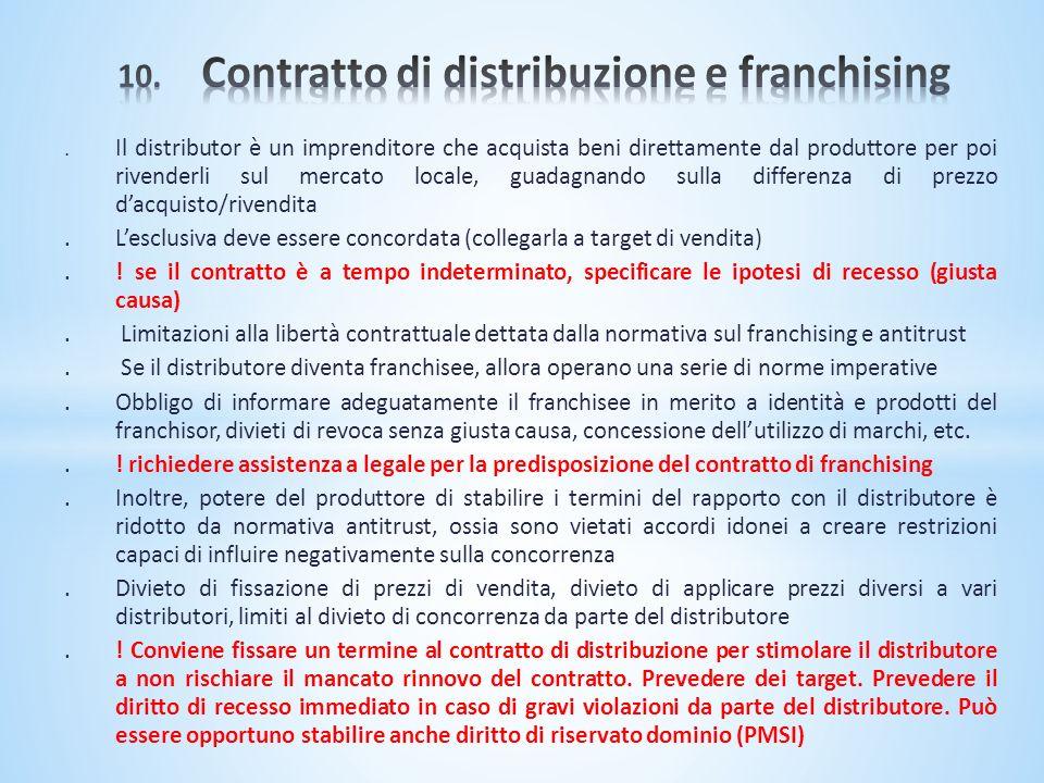 10. Contratto di distribuzione e franchising