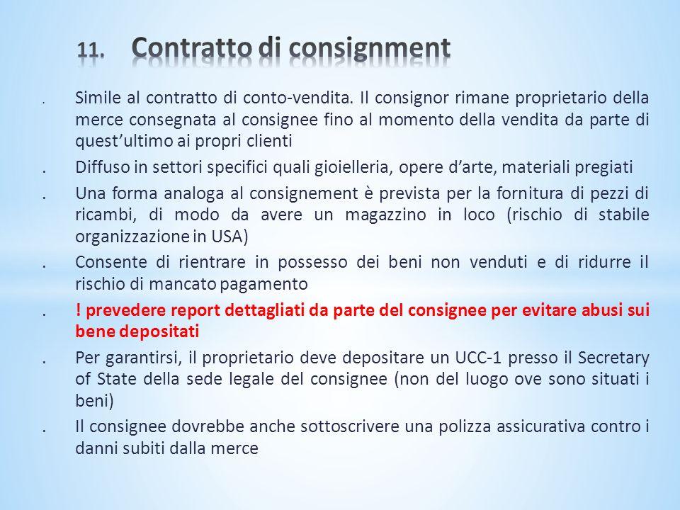 11. Contratto di consignment