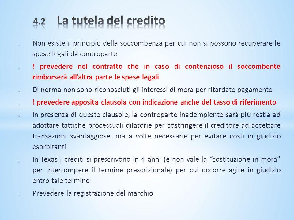 4.2 La tutela del credito . Non esiste il principio della soccombenza per cui non si possono recuperare le spese legali da controparte.