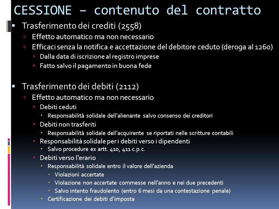 CESSIONE – contenuto del contratto