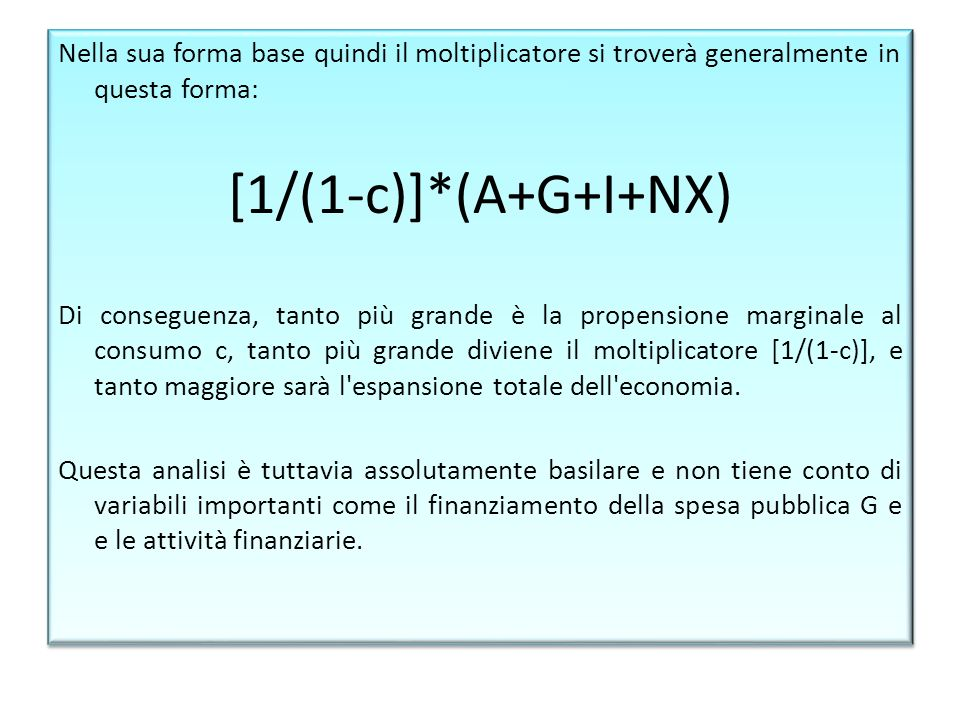 Nella sua forma base quindi il moltiplicatore si troverà generalmente in questa forma:
