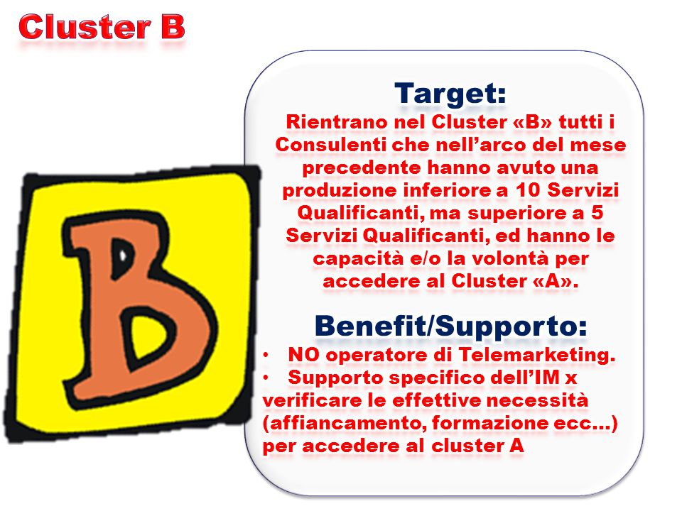 Cluster B Target: Benefit/Supporto: