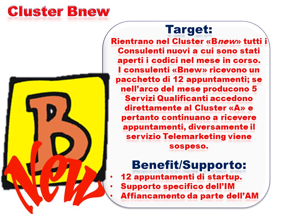 Cluster Bnew Target: Benefit/Supporto:
