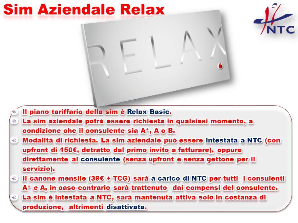 Sim Aziendale Relax Il piano tariffario della sim è Relax Basic.