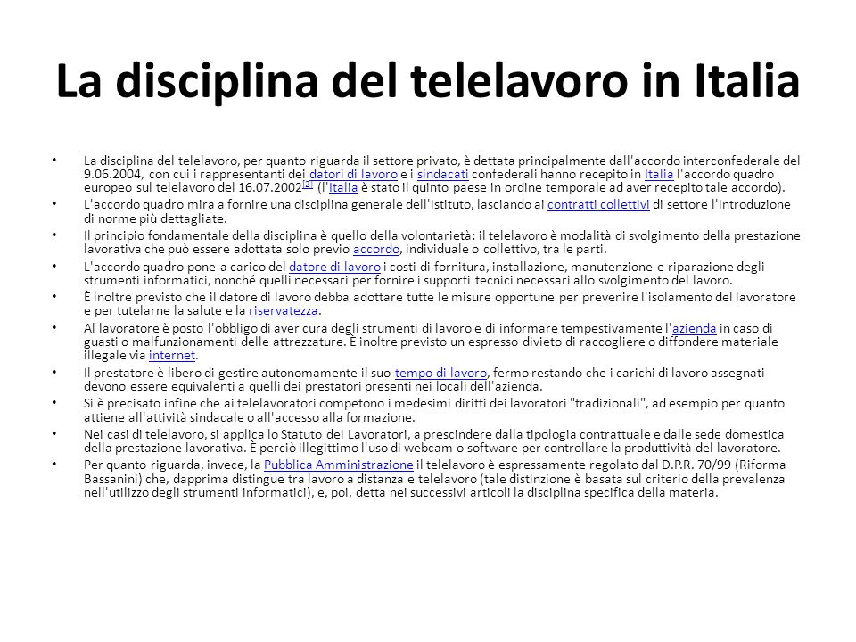 La disciplina del telelavoro in Italia