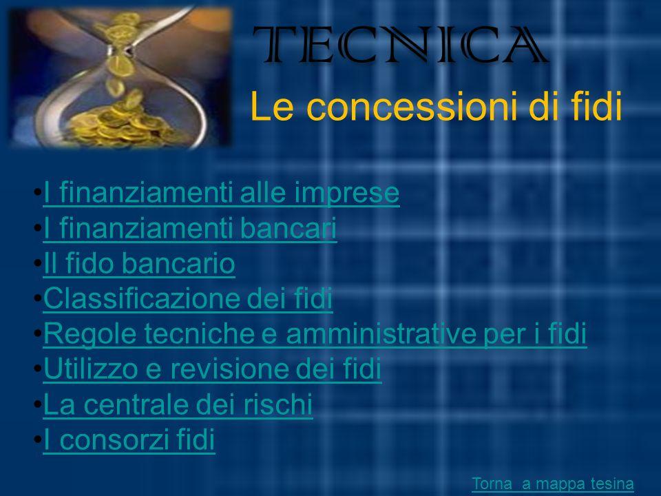 TECNICA Le concessioni di fidi I finanziamenti alle imprese