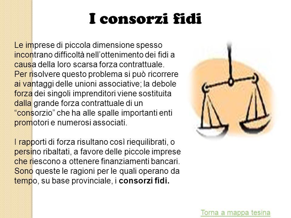 I consorzi fidi Le imprese di piccola dimensione spesso incontrano difficoltà nell'ottenimento dei fidi a causa della loro scarsa forza contrattuale.
