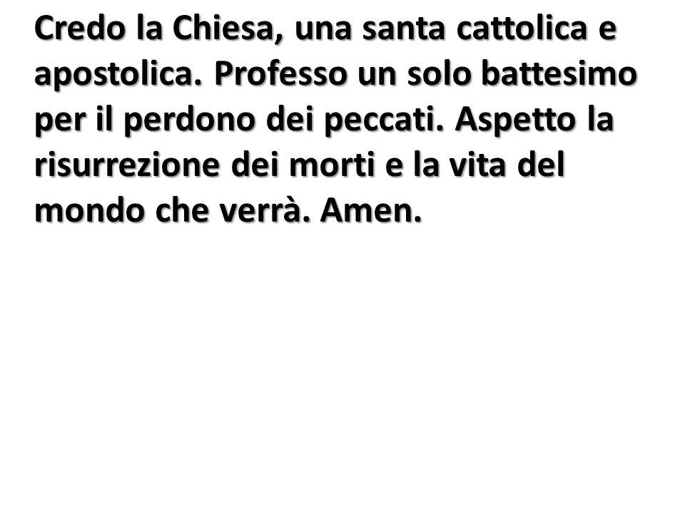 Credo la Chiesa, una santa cattolica e apostolica