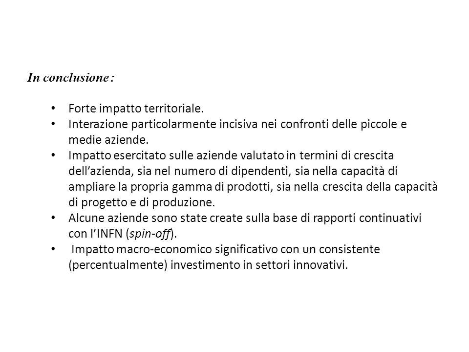 In conclusione :Forte impatto territoriale. Interazione particolarmente incisiva nei confronti delle piccole e medie aziende.