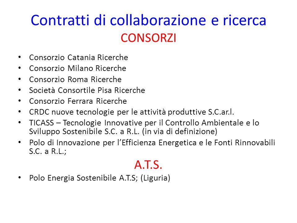 Contratti di collaborazione e ricerca CONSORZI