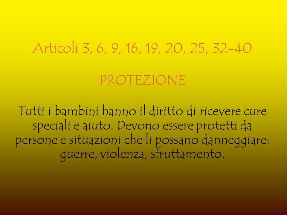 Articoli 3, 6, 9, 16, 19, 20, 25, 32-40 PROTEZIONE.
