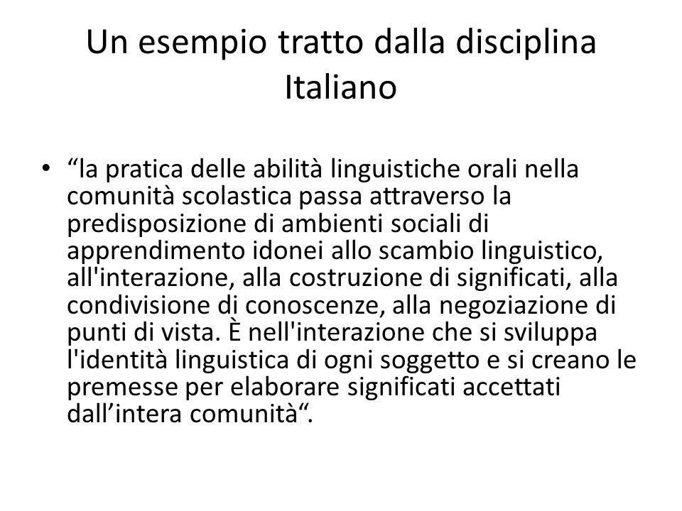Un esempio tratto dalla disciplina Italiano