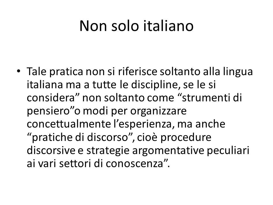 Non solo italiano