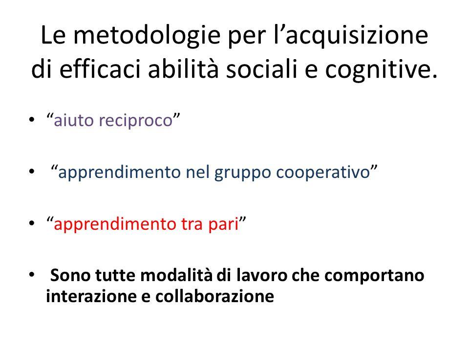 Le metodologie per l'acquisizione di efficaci abilità sociali e cognitive.