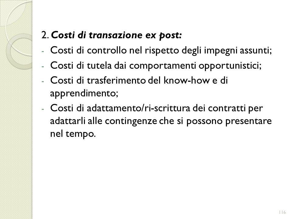 2. Costi di transazione ex post: