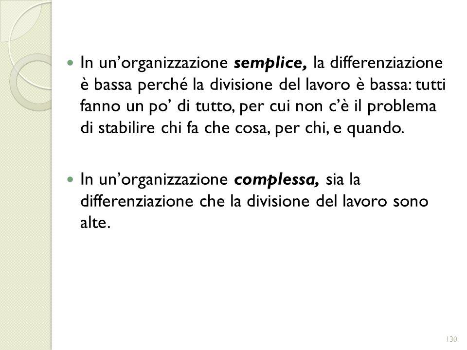 In un'organizzazione semplice, la differenziazione è bassa perché la divisione del lavoro è bassa: tutti fanno un po' di tutto, per cui non c'è il problema di stabilire chi fa che cosa, per chi, e quando.