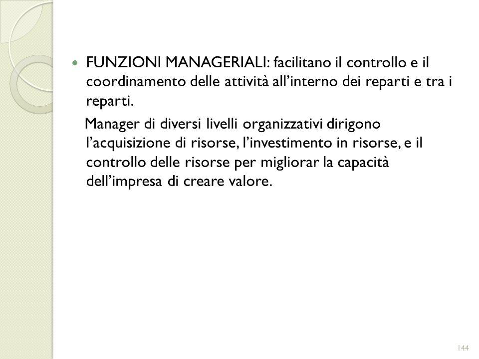 FUNZIONI MANAGERIALI: facilitano il controllo e il coordinamento delle attività all'interno dei reparti e tra i reparti.