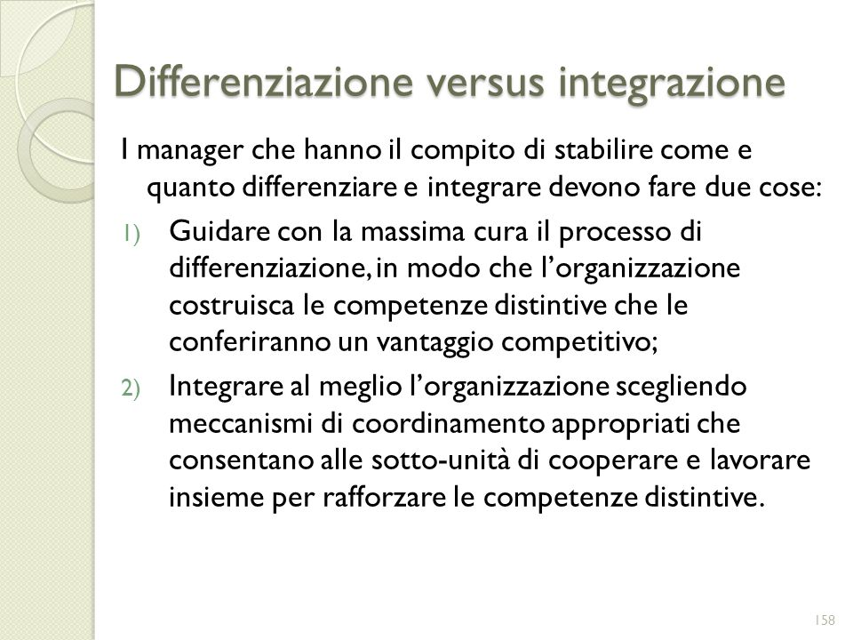 Differenziazione versus integrazione