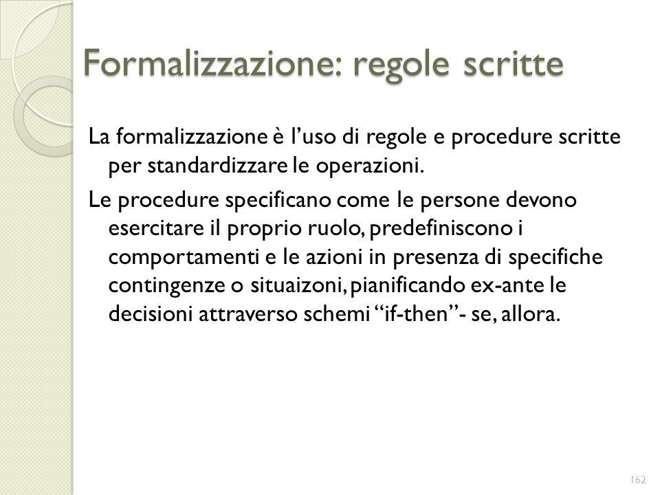 Formalizzazione: regole scritte