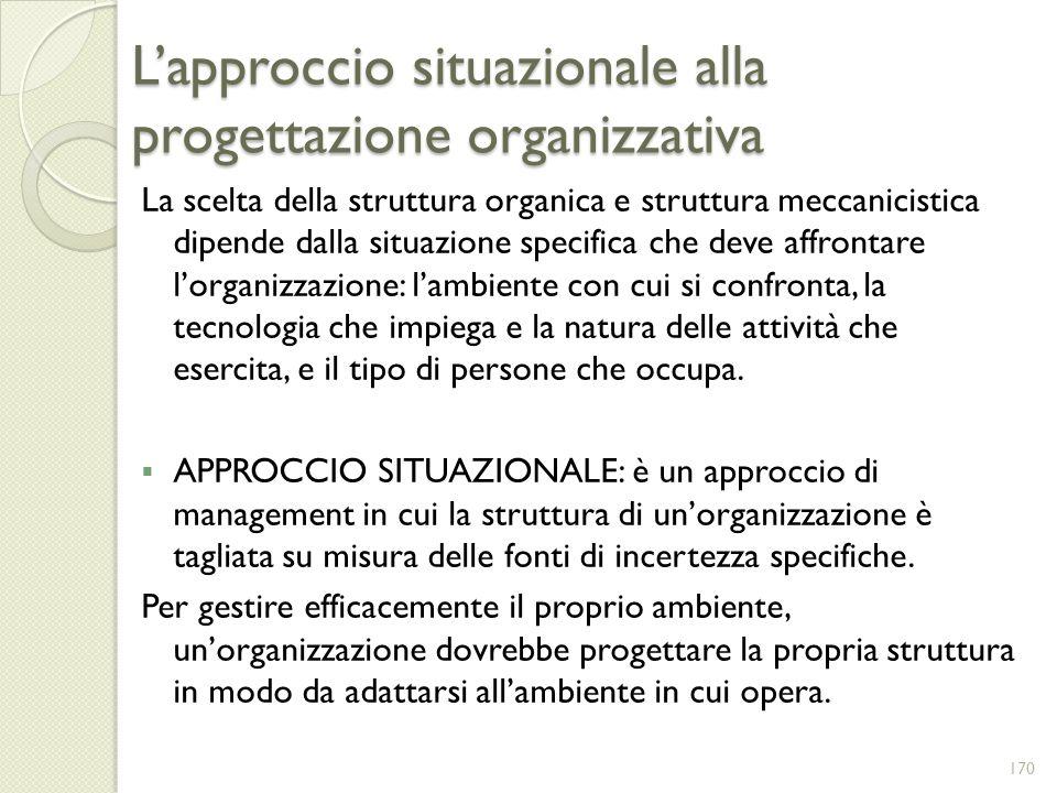 L'approccio situazionale alla progettazione organizzativa