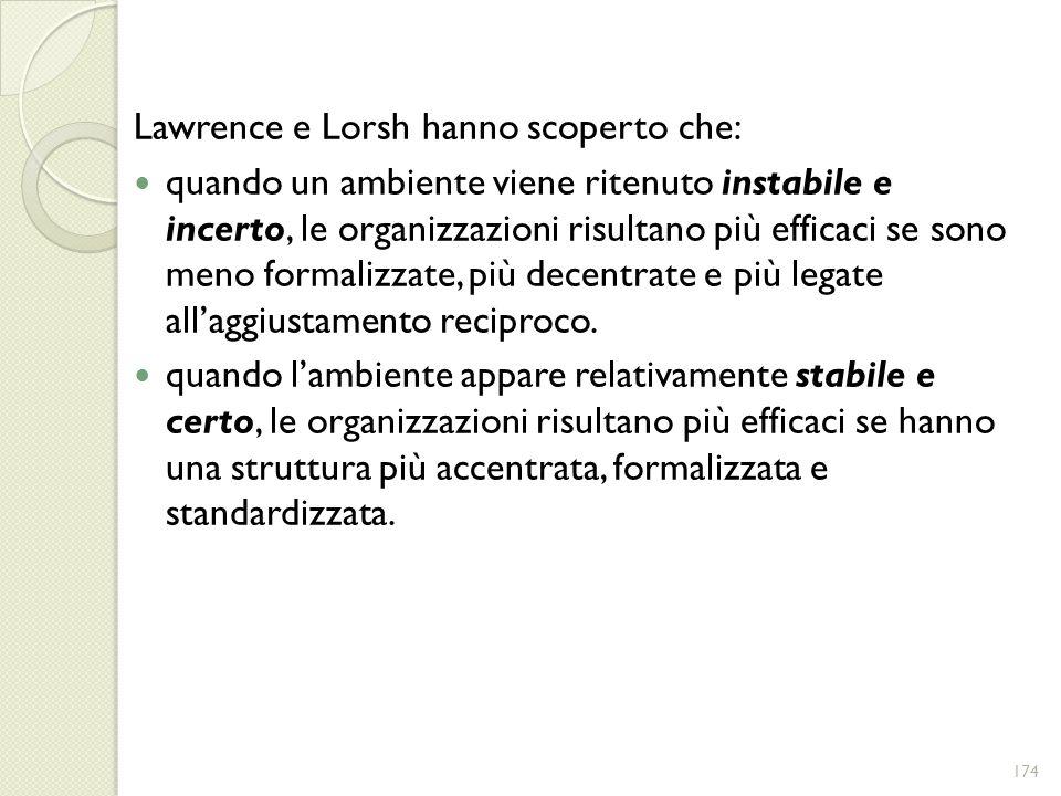 Lawrence e Lorsh hanno scoperto che: