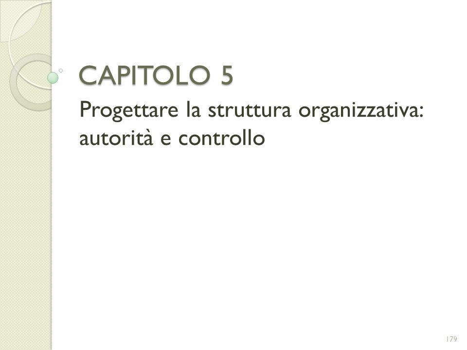 Progettare la struttura organizzativa: autorità e controllo