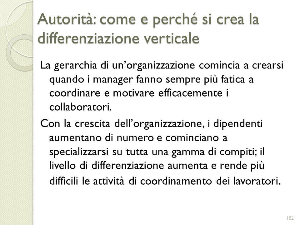 Autorità: come e perché si crea la differenziazione verticale